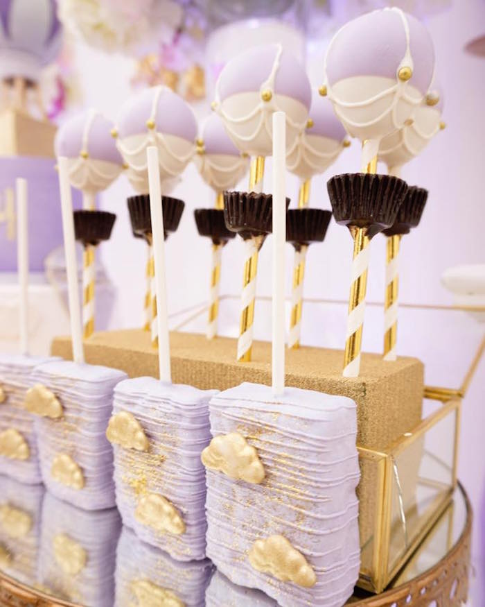 Cloud Rice Krispie Treats & hot Air Balloon Cake Pops from a Hot Air Balloon Baby Shower on Kara's Party Ideas | KarasPartyIdeas.com (6)