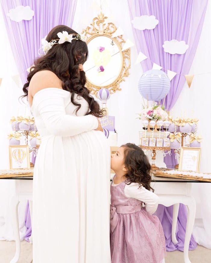 Kara S Party Ideas Purple Gold Hot Air Balloon Baby Shower