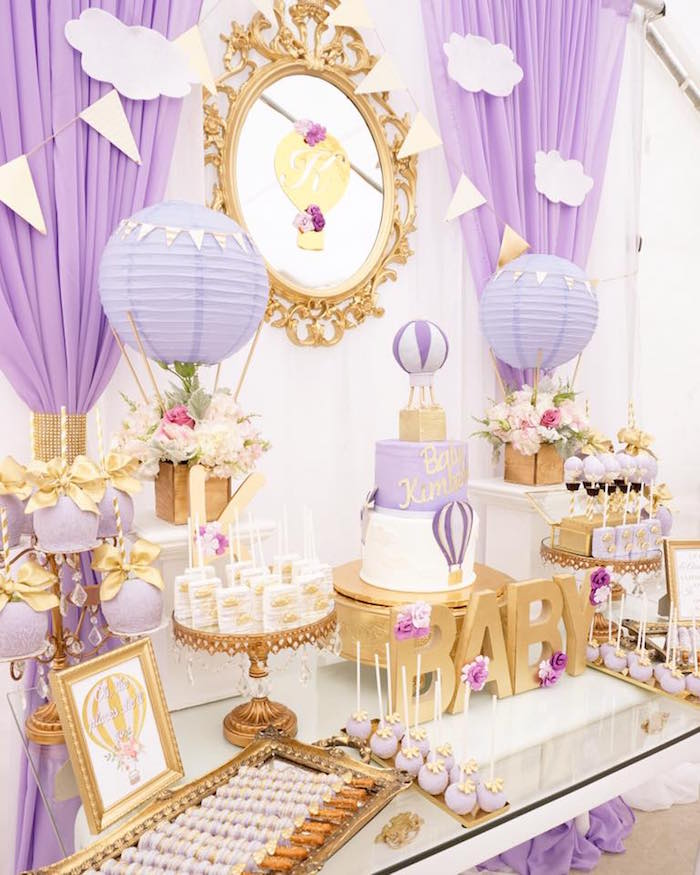 Purple U0026 Gold Hot Air Balloon Dessert Table From A Hot Air Balloon Baby  Shower On