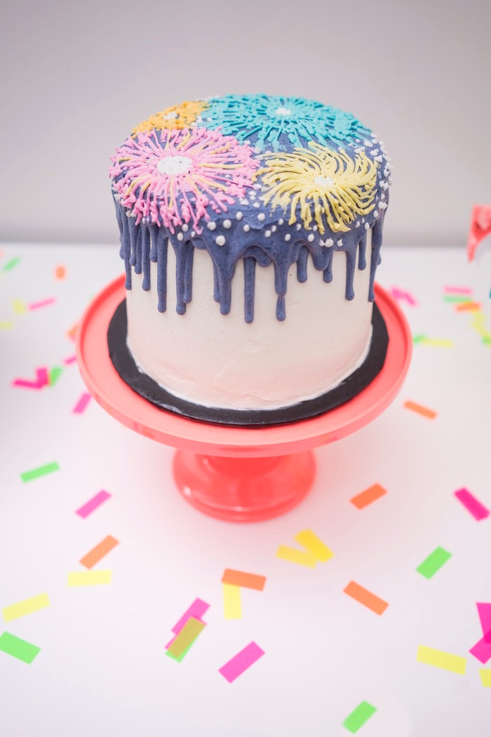 New Year's firework cake from It's 12 O'Clock Somewhere Neon New Year's Eve Party on Kara's Party Ideas | KarasPartyIdeas.com (21)