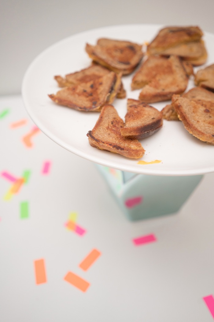 Grilled cheese sandwiches from It's 12 O'Clock Somewhere Neon New Year's Eve Party on Kara's Party Ideas | KarasPartyIdeas.com (12)