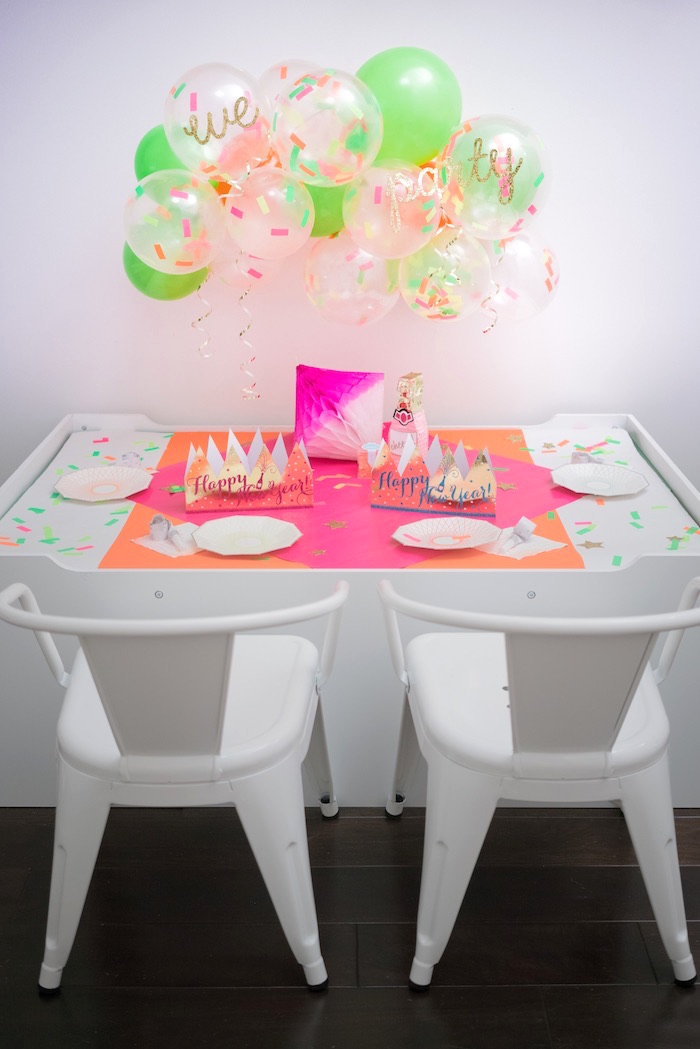 Guest table from It's 12 O'Clock Somewhere Neon New Year's Eve Party on Kara's Party Ideas | KarasPartyIdeas.com (30)