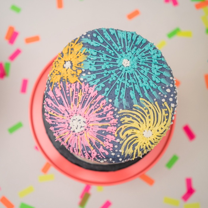 Firework cake from a It's 12 O'Clock Somewhere Neon New Year's Eve Party on Kara's Party Ideas | KarasPartyIdeas.com (11)