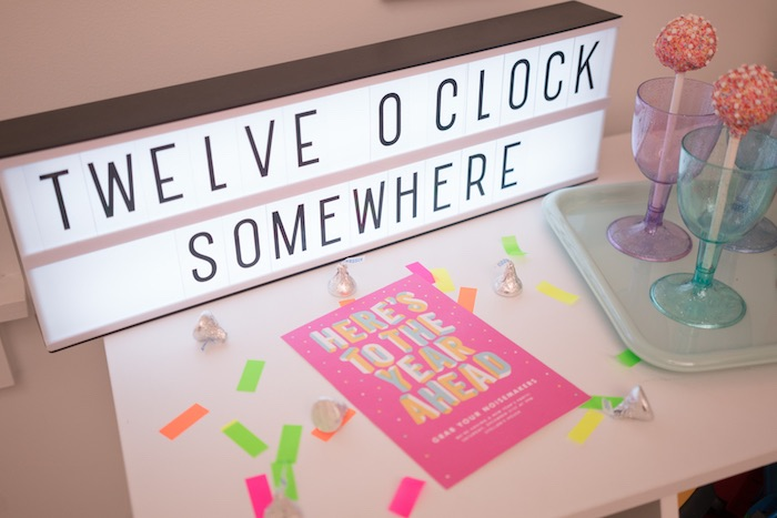 Light box sign from It's 12 O'Clock Somewhere Neon New Year's Eve Party on Kara's Party Ideas | KarasPartyIdeas.com (29)