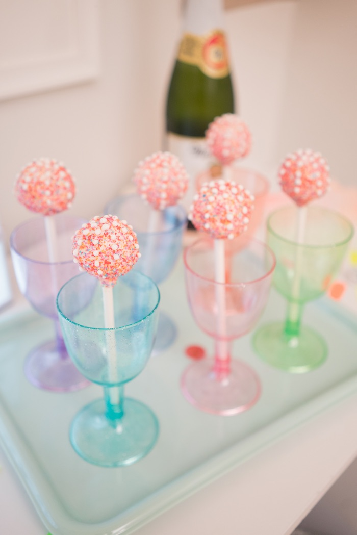Cake pops & colored cups from It's 12 O'Clock Somewhere Neon New Year's Eve Party on Kara's Party Ideas | KarasPartyIdeas.com (28)