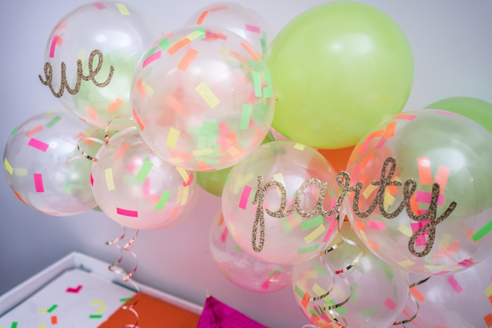 Confetti balloon garland from It's 12 O'Clock Somewhere Neon New Year's Eve Party on Kara's Party Ideas | KarasPartyIdeas.com (26)