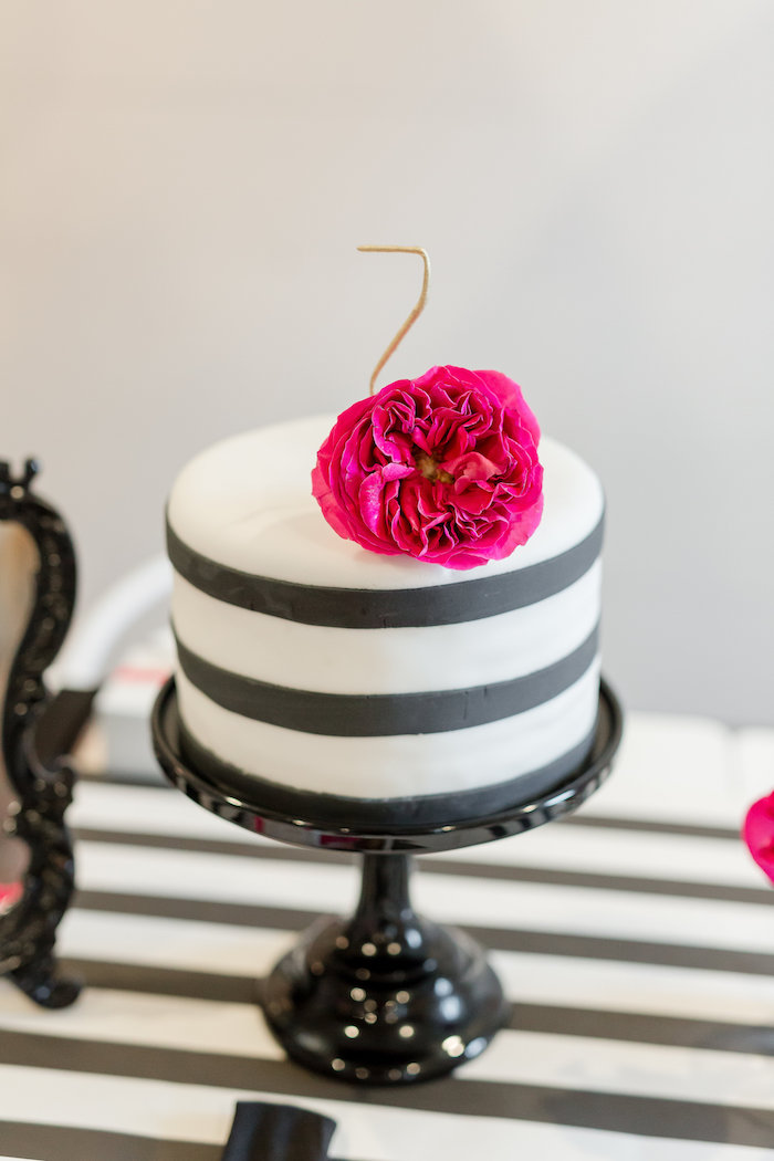 Modern black & white striped cake from a Kate Spade Inspired Spa Birthday Party on Kara's Party Ideas | KarasPartyIdeas.com (43)
