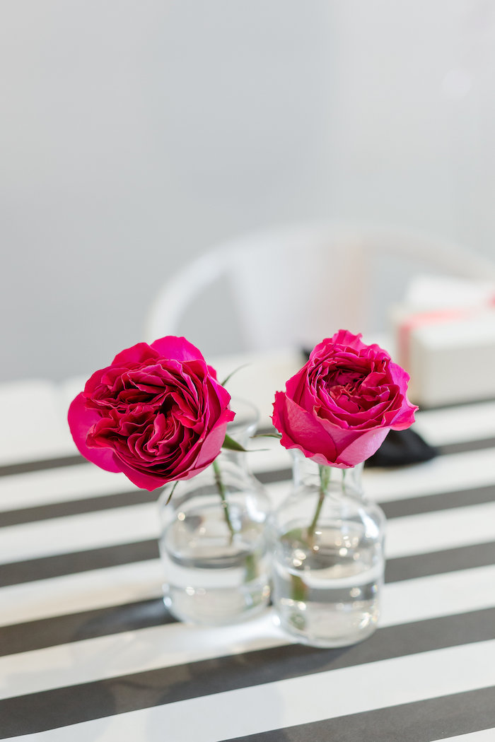 Ht pink roses in vases from a Kate Spade Inspired Spa Birthday Party on Kara's Party Ideas | KarasPartyIdeas.com (42)