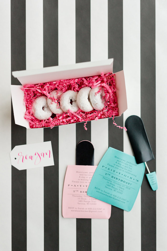 Nail Polish Bottle Party Invitation from a Kate Spade Inspired Spa Birthday Party on Kara's Party Ideas | KarasPartyIdeas.com (58)