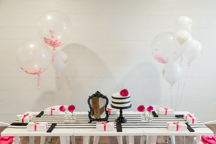Kate Spade cake table from a Kate Spade Inspired Spa Birthday Party on Kara's Party Ideas | KarasPartyIdeas.com (51)