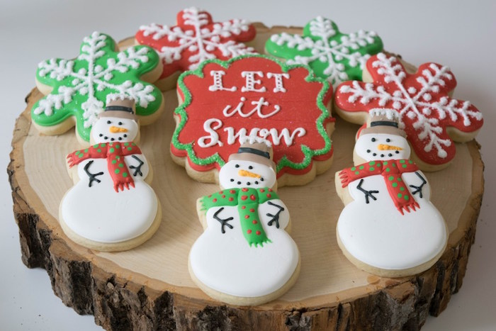 Snow Man & Snowflake cookies from a Let it Snow Holiday Party on Kara's Party Ideas | KarasPartyIdeas.com (31)