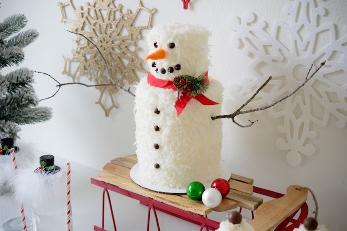Snow Man Cake from a Let it Snow Holiday Party on Kara's Party Ideas | KarasPartyIdeas.com (30)