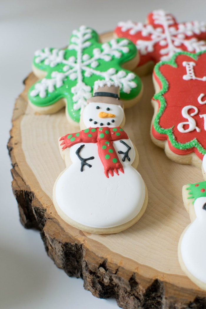 Snow Man sugar cookie from a Let it Snow Holiday Party on Kara's Party Ideas | KarasPartyIdeas.com (26)