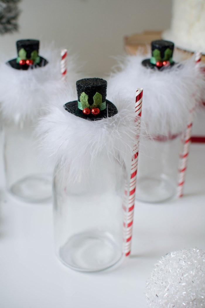 Drink bottles adorned with top hats from a Let it Snow Holiday Party on Kara's Party Ideas | KarasPartyIdeas.com (25)