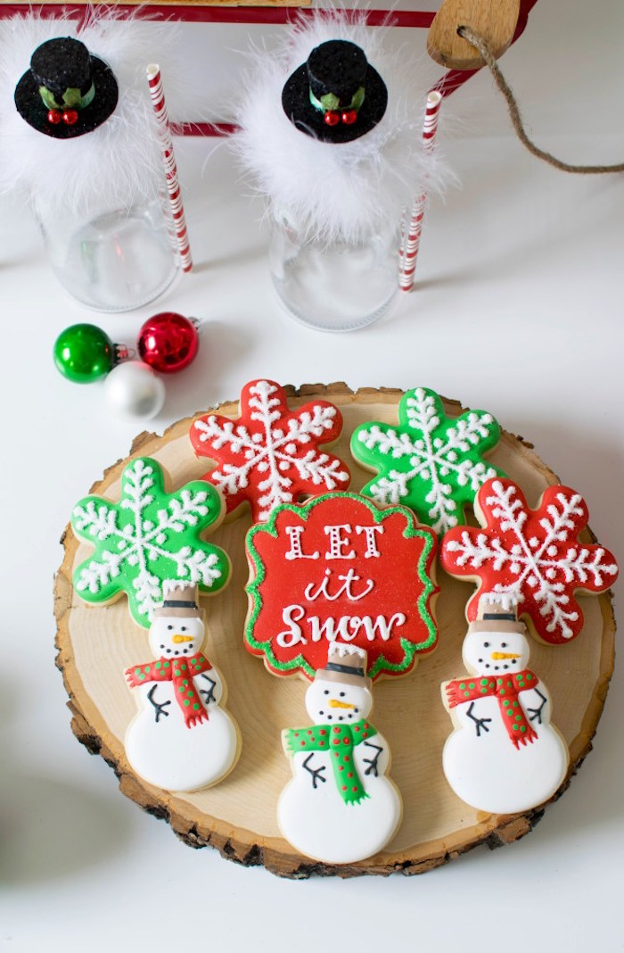 """Snow"" cookies from a Let it Snow Holiday Party on Kara's Party Ideas 