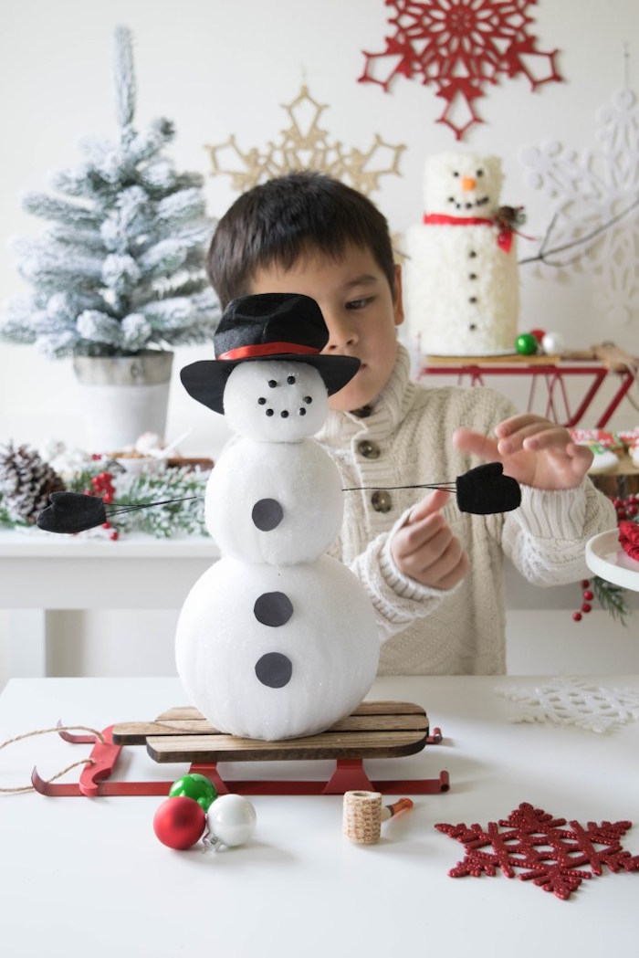 Snow Man building activity from a Let it Snow Holiday Party on Kara's Party Ideas | KarasPartyIdeas.com (17)