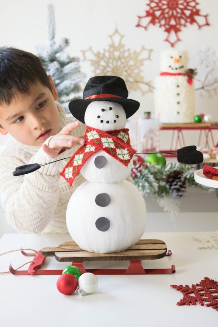 Snow Man building activity from a Let it Snow Holiday Party on Kara's Party Ideas | KarasPartyIdeas.com (16)