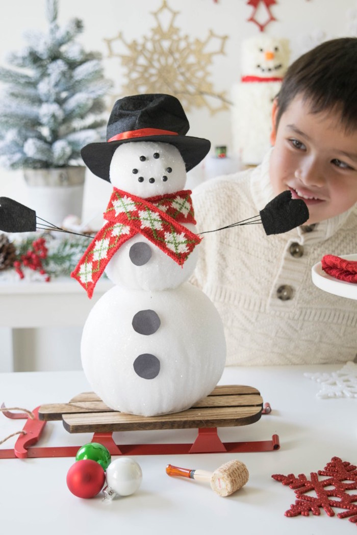 Styrofoam Snow Man from a Let it Snow Holiday Party on Kara's Party Ideas | KarasPartyIdeas.com (15)