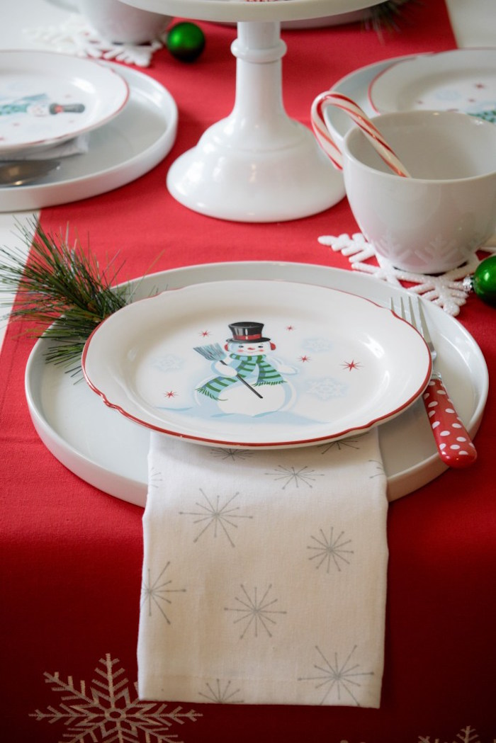 Snow Man place setting from a Let it Snow Holiday Party on Kara's Party Ideas | KarasPartyIdeas.com (13)