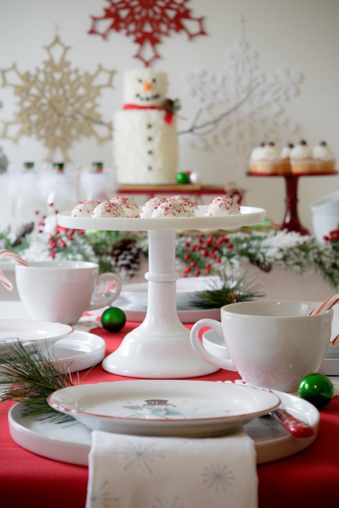 Place setting from a Let it Snow Holiday Party on Kara's Party Ideas | KarasPartyIdeas.com (8)