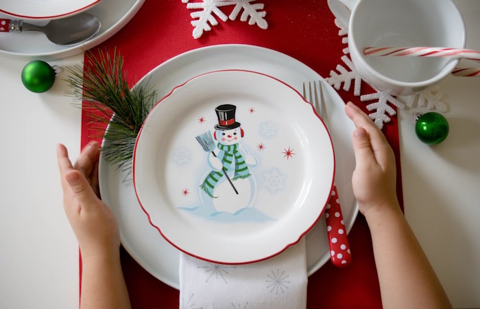 Snow Man place setting from a Let it Snow Holiday Party on Kara's Party Ideas | KarasPartyIdeas.com (7)