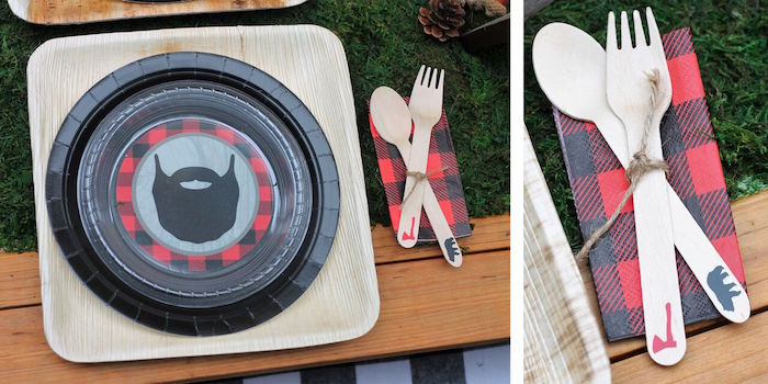 Place setting from a Little Lumberjack Birthday Party on Kara's Party Ideas | KarasPartyIdeas.com (65)