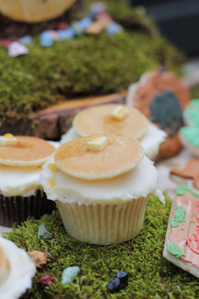 Pancake cupcake from a Little Lumberjack Birthday Party on Kara's Party Ideas | KarasPartyIdeas.com (33)