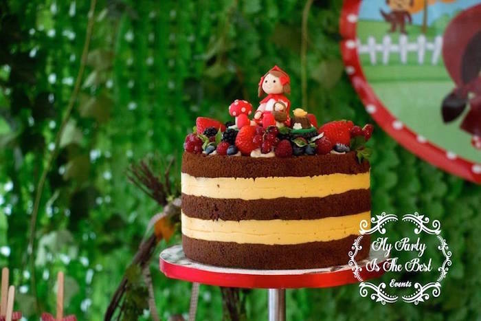 Little Red Riding Hood naked cake from a Little Red Riding Hood Birthday Party on Kara's Party Ideas | KarasPartyIdeas.com (29)
