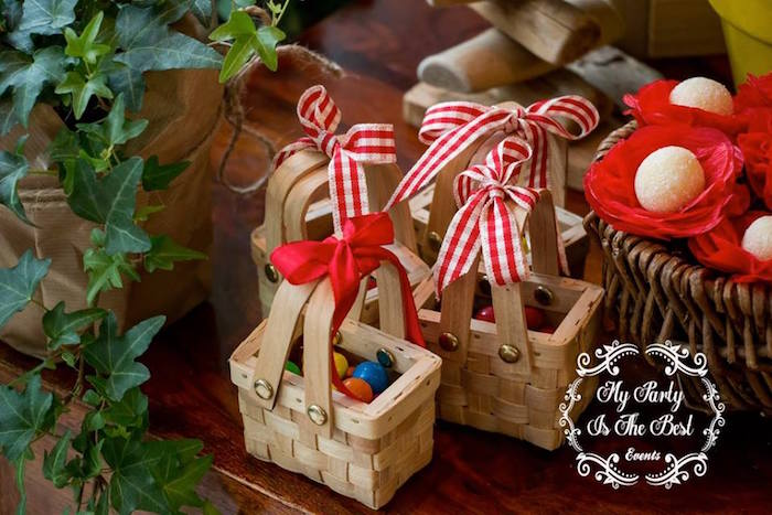 Picnic basket favors from a Little Red Riding Hood Birthday Party on Kara's Party Ideas | KarasPartyIdeas.com (27)