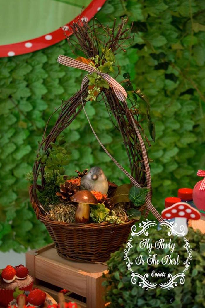 Woodland basket from a Little Red Riding Hood Birthday Party on Kara's Party Ideas | KarasPartyIdeas.com (19)