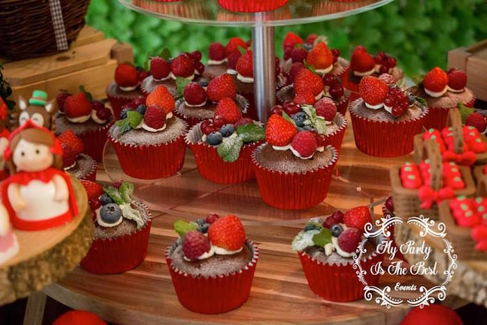 Cupcakes topped with fresh berries from a Little Red Riding Hood Birthday Party on Kara's Party Ideas | KarasPartyIdeas.com (14)