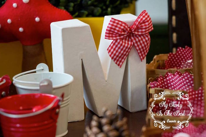 Block letter with red and white gingham bow from a Little Red Riding Hood Birthday Party on Kara's Party Ideas | KarasPartyIdeas.com (13)