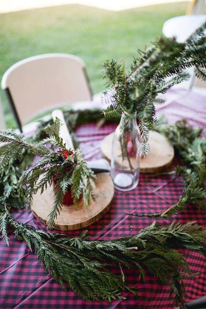Tree sprig and bow table centerpieces from a Lumberjack Birthday Party on Kara's Party Ideas | KarasPartyIdeas.com (34)