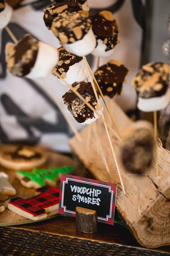 Wood chip s'mores from a Lumberjack Birthday Party on Kara's Party Ideas | KarasPartyIdeas.com (27)