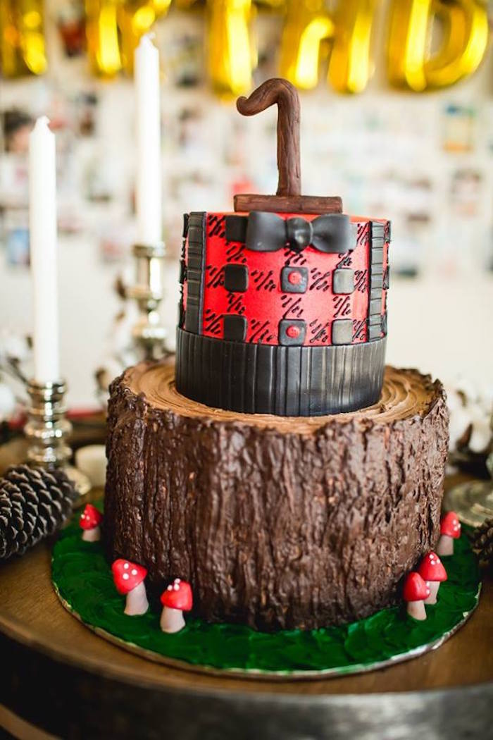 Lumberjack cake from a Lumberjack Birthday Party on Kara's Party Ideas | KarasPartyIdeas.com (23)