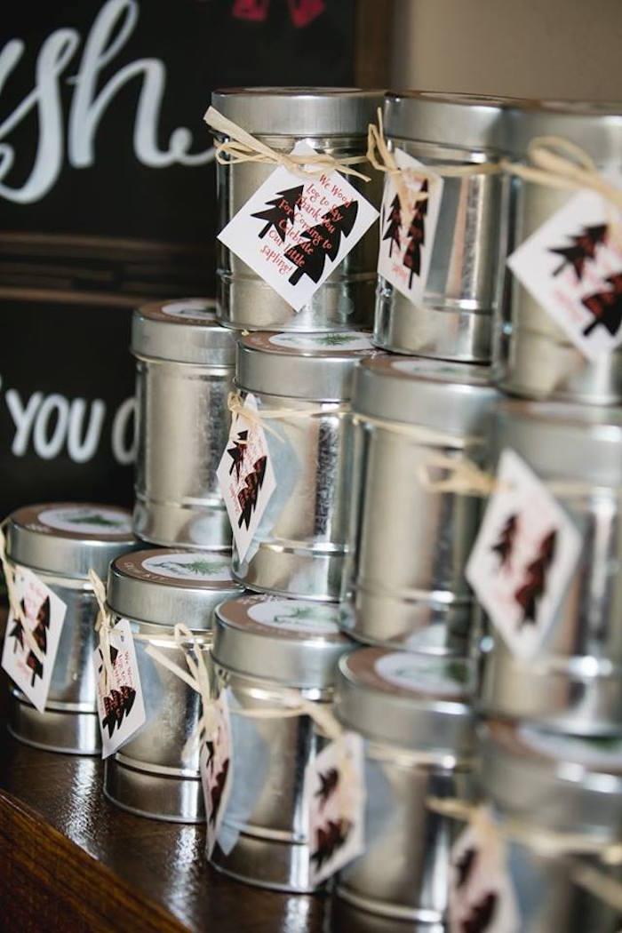 Favor cans from a Lumberjack Birthday Party on Kara's Party Ideas | KarasPartyIdeas.com (18)