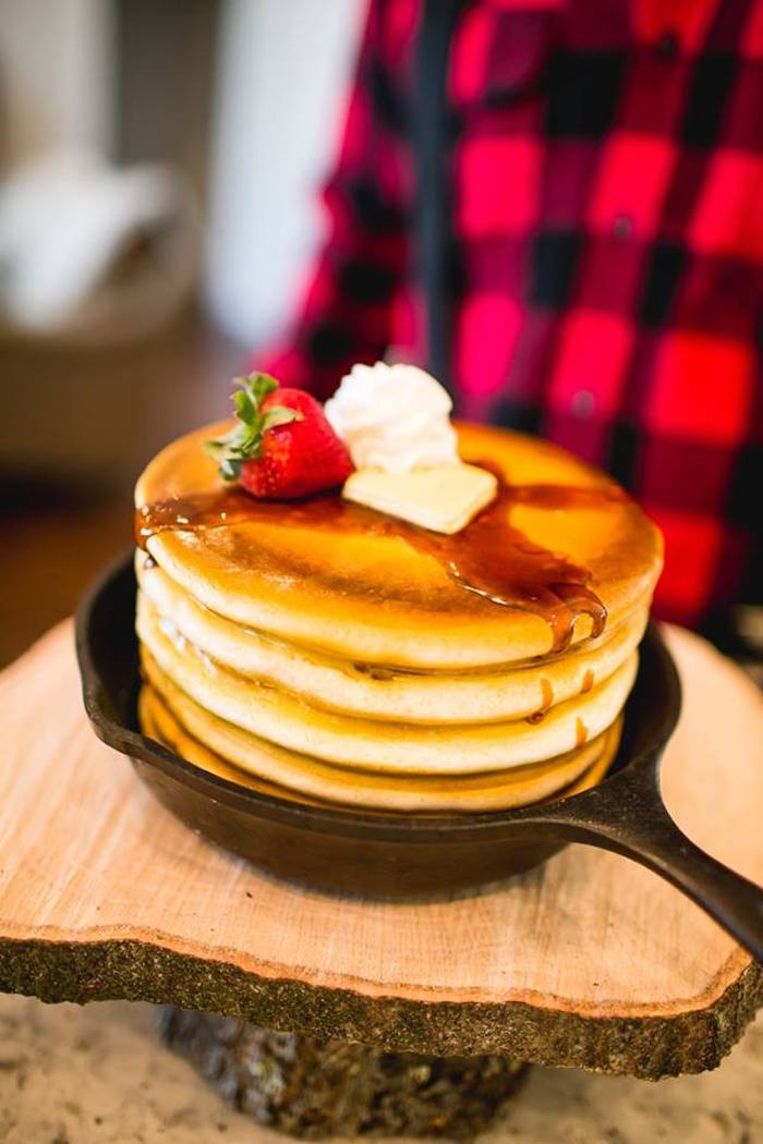 Pancake stack in a skillet from a Lumberjack Birthday Party on Kara's Party Ideas | KarasPartyIdeas.com (16)