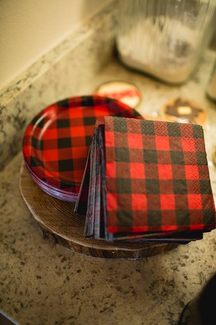 Buffalo plaid plates and napkins from a Lumberjack Birthday Party on Kara's Party Ideas | KarasPartyIdeas.com (12)