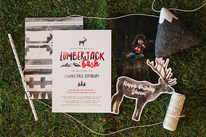 Lumberjack-inspired invitation from a Lumberjack Birthday Party on Kara's Party Ideas | KarasPartyIdeas.com (9)