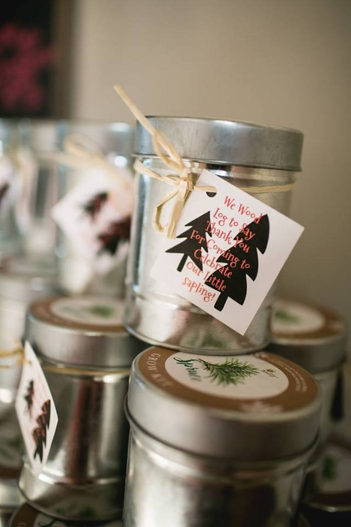 Favor tin from a Lumberjack Birthday Party on Kara's Party Ideas | KarasPartyIdeas.com (3)