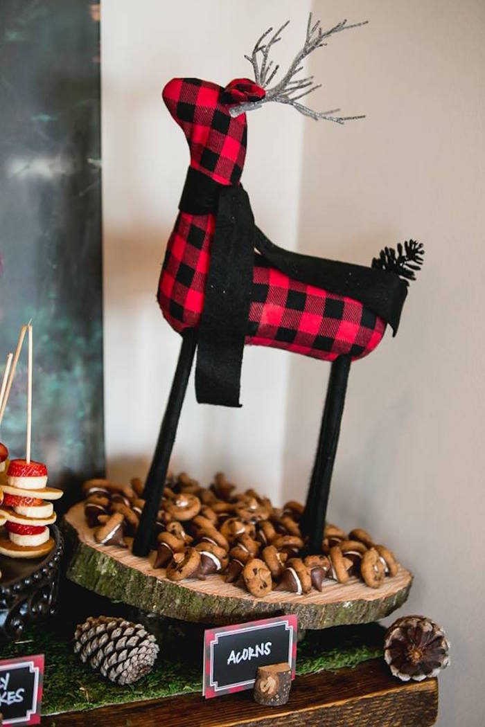 Buffalo Plaid deer from a Lumberjack Birthday Party on Kara's Party Ideas | KarasPartyIdeas.com (38)