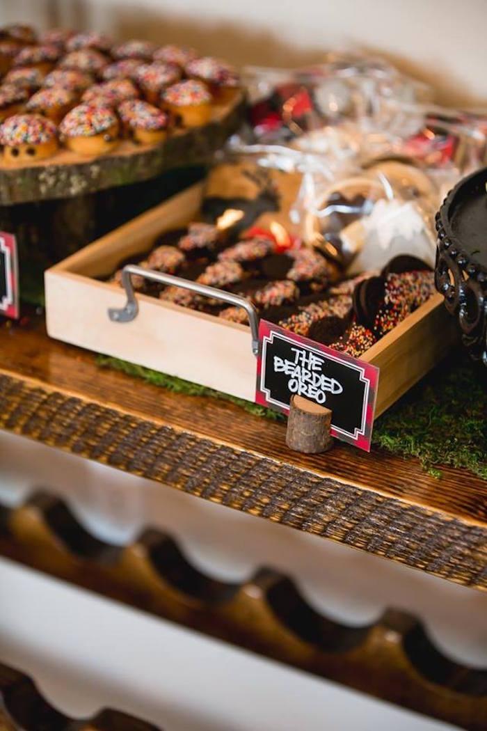 Bearded Oreo brakes from a Lumberjack Birthday Party on Kara's Party Ideas | KarasPartyIdeas.com (37)