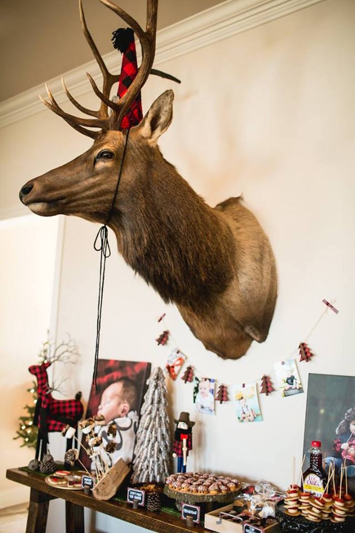 Mounted bull elk from a Lumberjack Birthday Party on Kara's Party Ideas | KarasPartyIdeas.com (36)