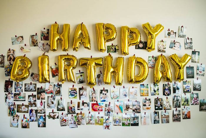 Mylar letter ballon photo wall from a Lumberjack Birthday Party on Kara's Party Ideas | KarasPartyIdeas.com (35)