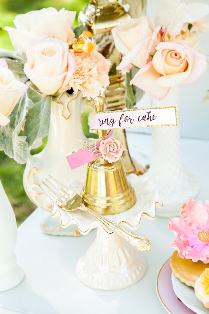 """Ring for cake"" bell from a Marie Antoinette Inspired Bridal Shower on Kara's Party Ideas 