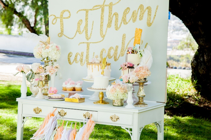 White & gold dessert table from a Marie Antoinette Inspired Bridal Shower on Kara's Party Ideas | KarasPartyIdeas.com (30)