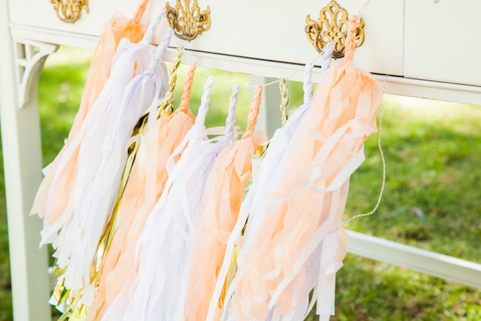 Peach, gold and white tassel garland from a Marie Antoinette Inspired Bridal Shower on Kara's Party Ideas | KarasPartyIdeas.com (29)