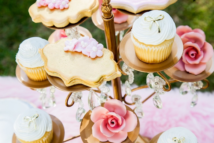Cookies & cupcakes from a Marie Antoinette Inspired Bridal Shower on Kara's Party Ideas | KarasPartyIdeas.com (27)