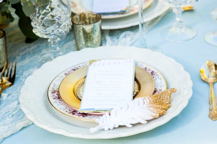 Feather & floral place setting from a Marie Antoinette Inspired Bridal Shower on Kara's Party Ideas | KarasPartyIdeas.com (22)