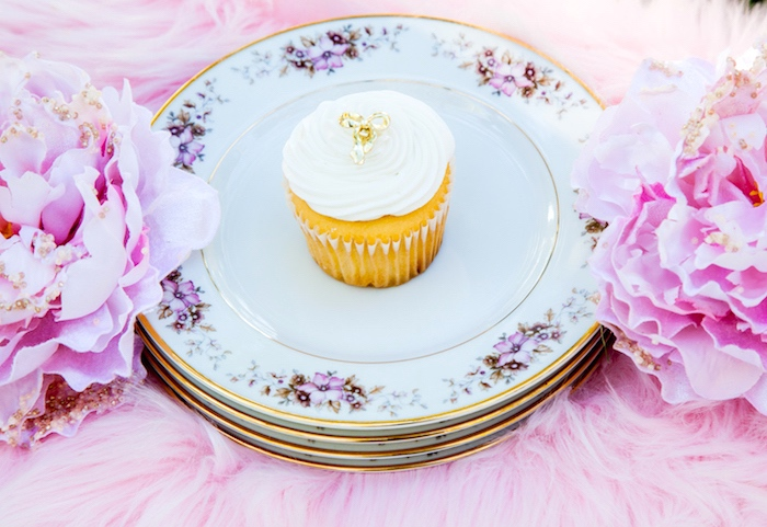 Gold rimmed floral plates from a Marie Antoinette Inspired Bridal Shower on Kara's Party Ideas | KarasPartyIdeas.com (21)